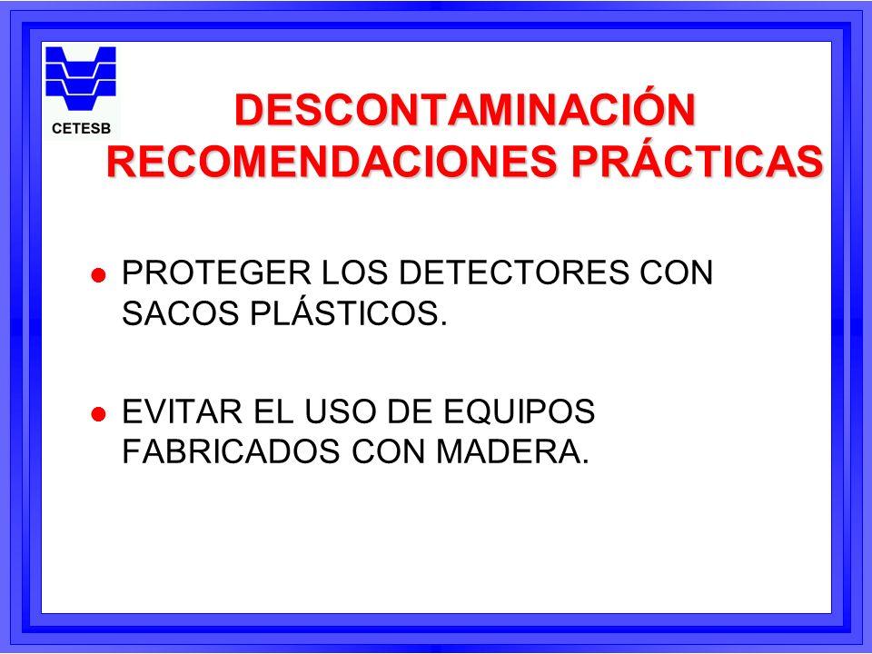 DESCONTAMINACIÓN RECOMENDACIONES PRÁCTICAS