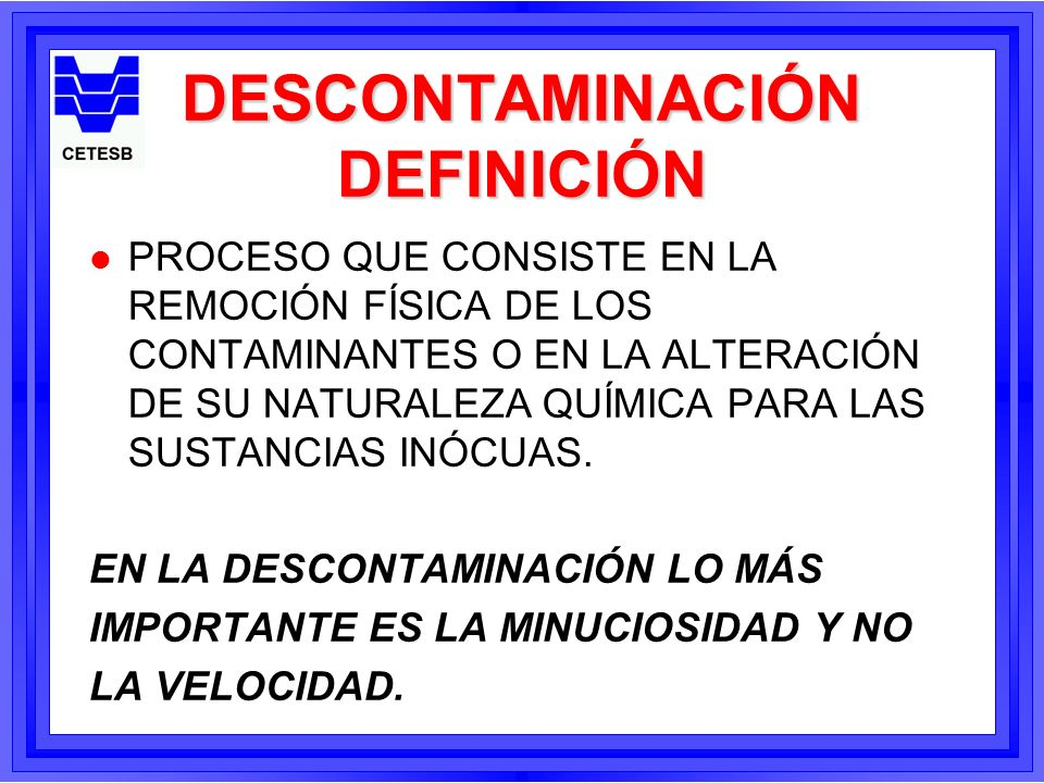 DESCONTAMINACIÓN DEFINICIÓN