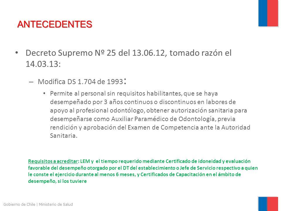 Decreto Supremo Nº 25 del 13.06.12, tomado razón el 14.03.13: