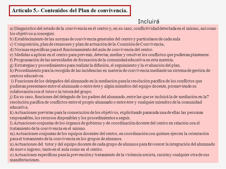 Artículo 5.- Contenidos del Plan de convivencia.
