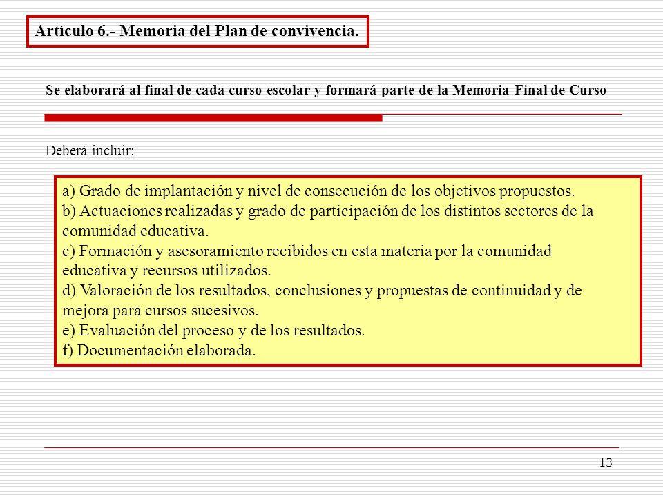 Artículo 6.- Memoria del Plan de convivencia.