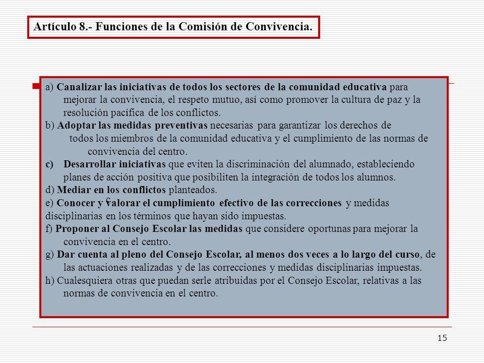 Artículo 8.- Funciones de la Comisión de Convivencia.