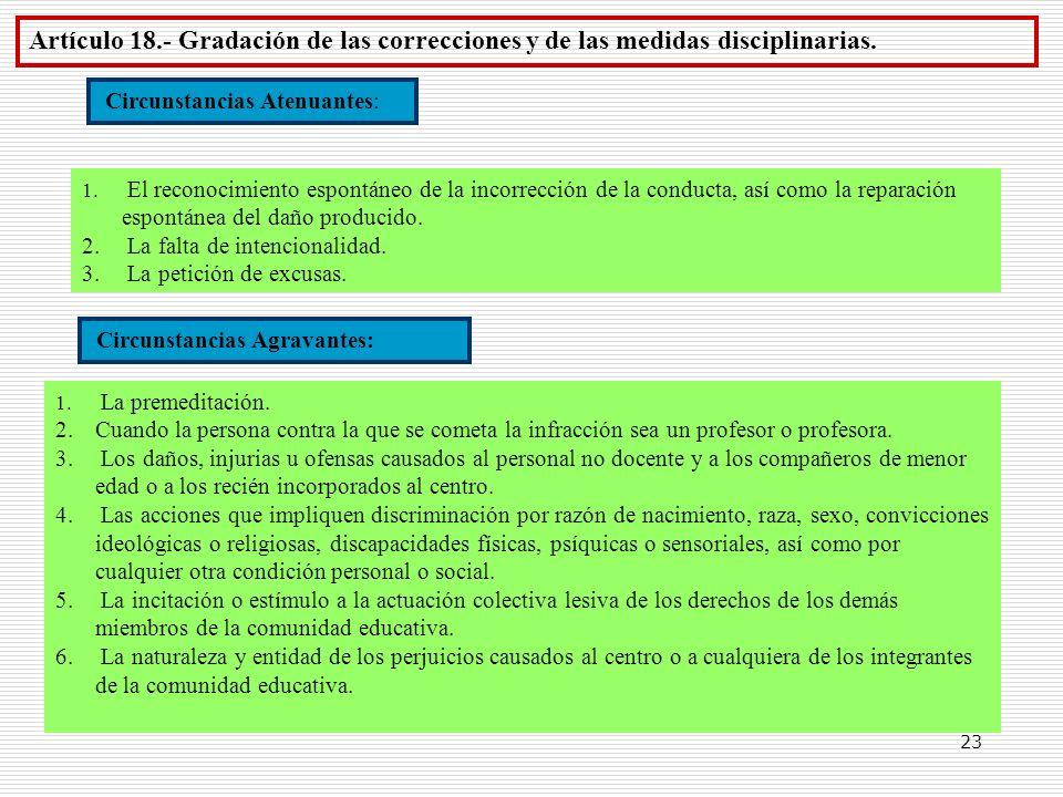 Artículo 18.- Gradación de las correcciones y de las medidas disciplinarias.