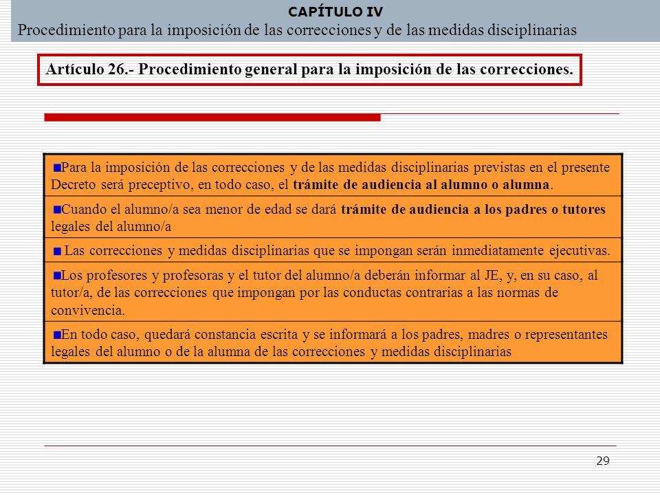 CAPÍTULO IV Procedimiento para la imposición de las correcciones y de las medidas disciplinarias.