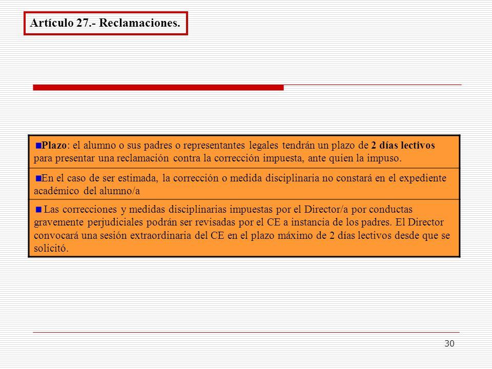 Artículo 27.- Reclamaciones.