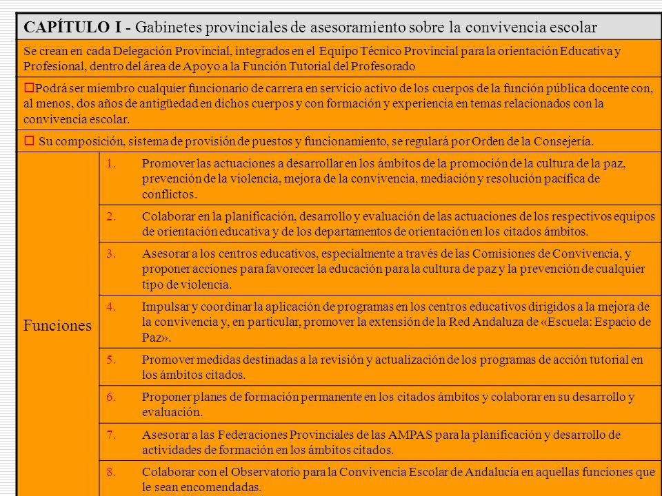 CAPÍTULO I - Gabinetes provinciales de asesoramiento sobre la convivencia escolar