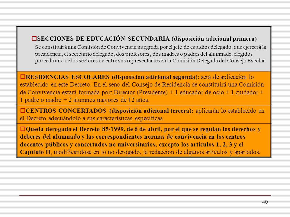 SECCIONES DE EDUCACIÓN SECUNDARIA (disposición adicional primera)