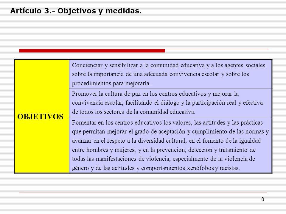OBJETIVOS Artículo 3.- Objetivos y medidas.