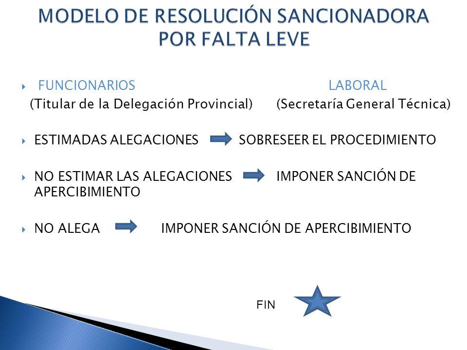 MODELO DE RESOLUCIÓN SANCIONADORA POR FALTA LEVE