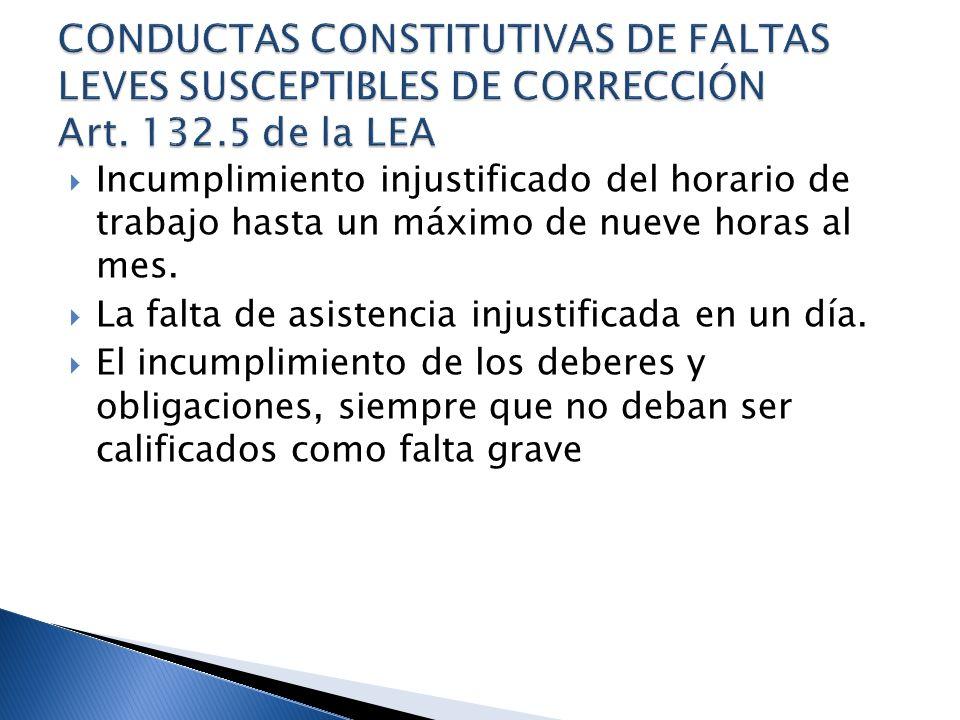 CONDUCTAS CONSTITUTIVAS DE FALTAS LEVES SUSCEPTIBLES DE CORRECCIÓN Art
