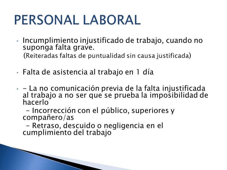 PERSONAL LABORAL Incumplimiento injustificado de trabajo, cuando no suponga falta grave. (Reiteradas faltas de puntualidad sin causa justificada)
