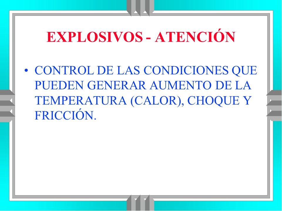 EXPLOSIVOS - ATENCIÓNCONTROL DE LAS CONDICIONES QUE PUEDEN GENERAR AUMENTO DE LA TEMPERATURA (CALOR), CHOQUE Y FRICCIÓN.