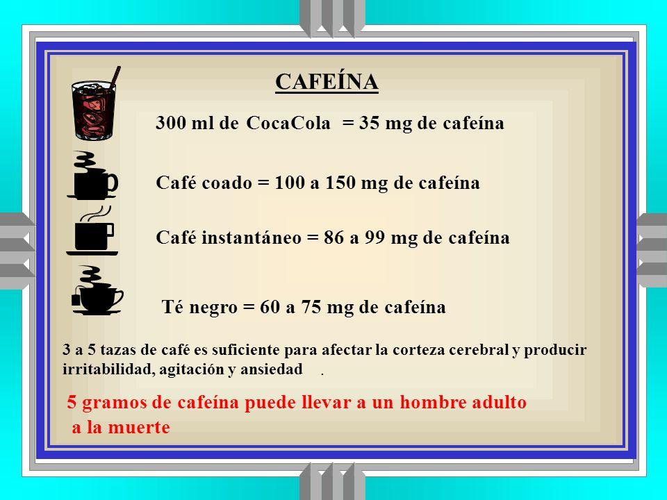 CAFEÍNA 300 ml de CocaCola = 35 mg de cafeína
