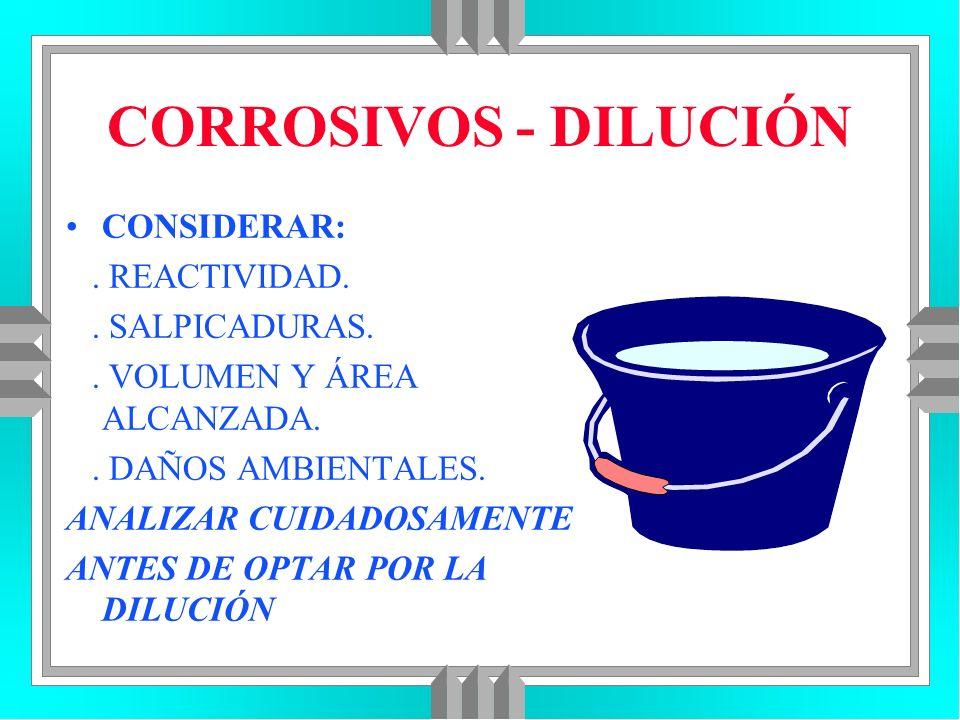 CORROSIVOS - DILUCIÓN CONSIDERAR: . REACTIVIDAD. . SALPICADURAS.