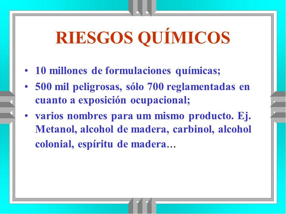 RIESGOS QUÍMICOS 10 millones de formulaciones químicas;