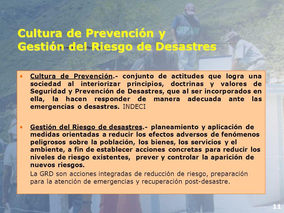 Cultura de Prevención y Gestión del Riesgo de Desastres