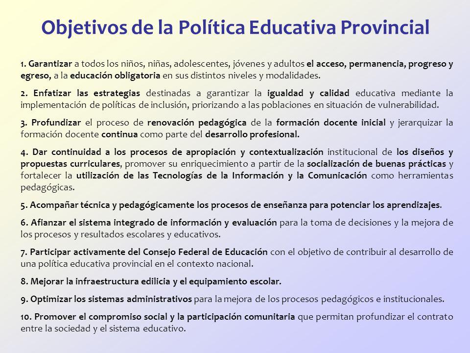 Objetivos de la Política Educativa Provincial