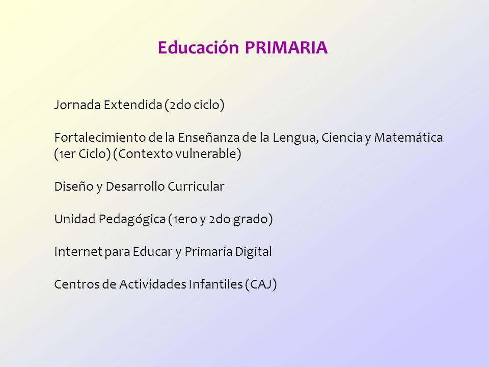 Educación PRIMARIA Jornada Extendida (2do ciclo)