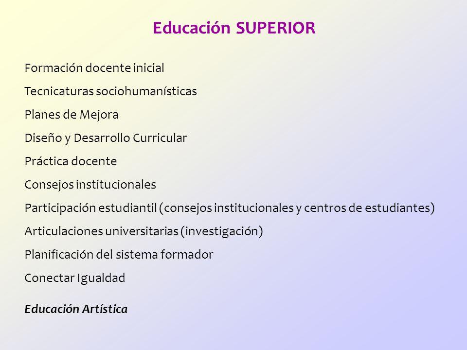 Educación SUPERIOR Formación docente inicial