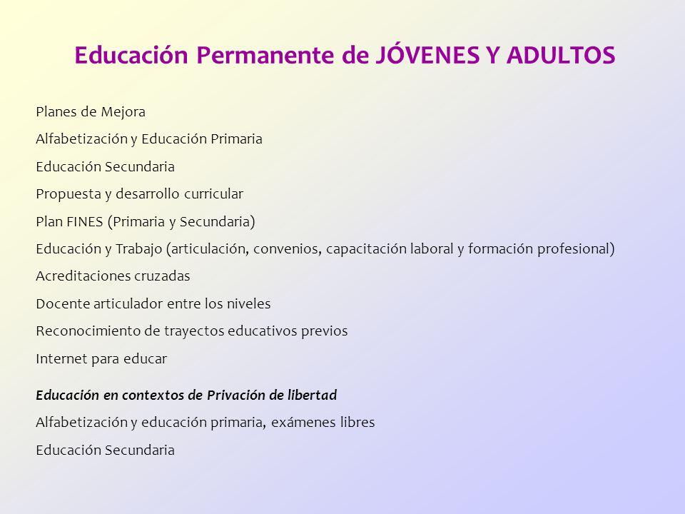 Educación Permanente de JÓVENES Y ADULTOS