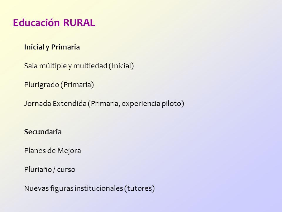 Educación RURAL Inicial y Primaria Sala múltiple y multiedad (Inicial)