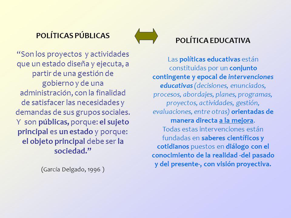 POLÍTICAS PÚBLICAS Son los proyectos y actividades que un estado diseña y ejecuta, a partir de una gestión de gobierno y de una administración, con la finalidad de satisfacer las necesidades y demandas de sus grupos sociales. Y son públicas, porque: el sujeto principal es un estado y porque: el objeto principal debe ser la sociedad. (García Delgado, 1996 )