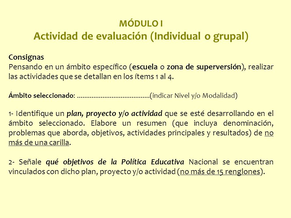 Actividad de evaluación (Individual o grupal)
