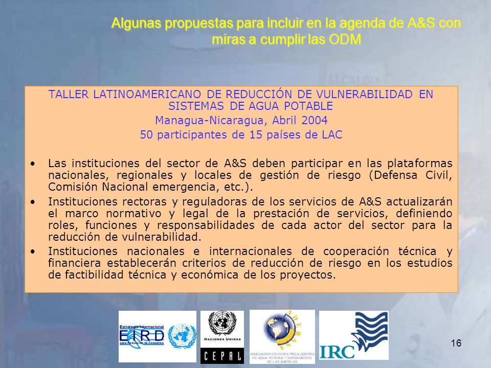 Algunas propuestas para incluir en la agenda de A&S con miras a cumplir las ODM