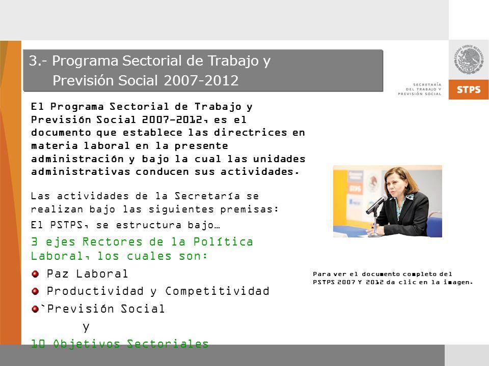 3.- Programa Sectorial de Trabajo y Previsión Social 2007-2012