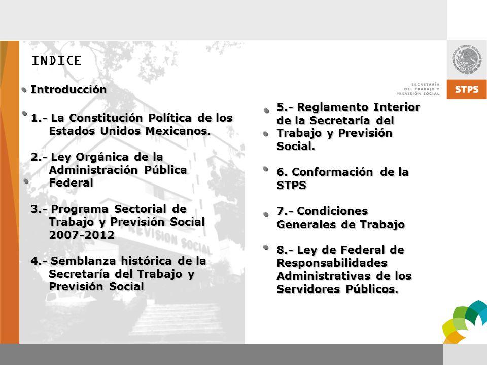 INDICE Introducción. 1.- La Constitución Política de los Estados Unidos Mexicanos. 2.- Ley Orgánica de la Administración Pública Federal.