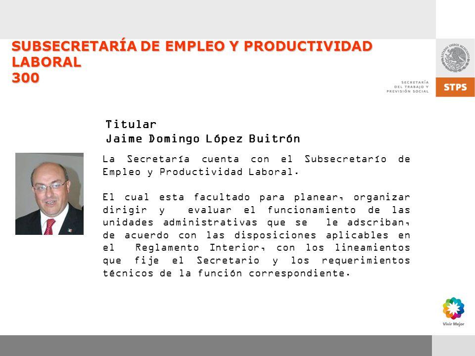 SUBSECRETARÍA DE EMPLEO Y PRODUCTIVIDAD LABORAL 300