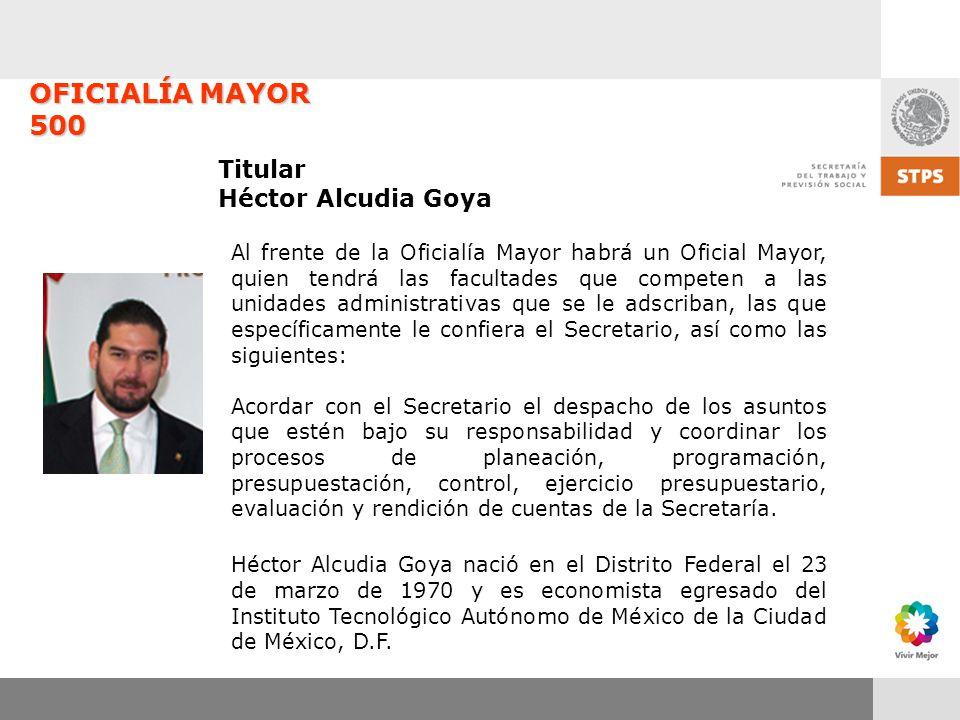OFICIALÍA MAYOR 500 Titular Héctor Alcudia Goya