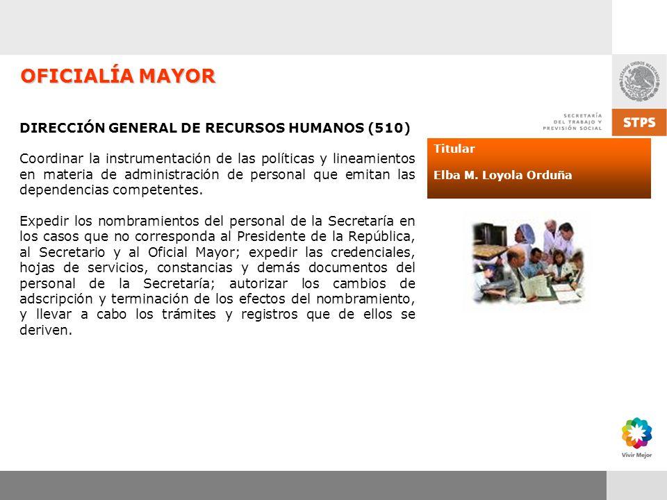 OFICIALÍA MAYOR DIRECCIÓN GENERAL DE RECURSOS HUMANOS (510)