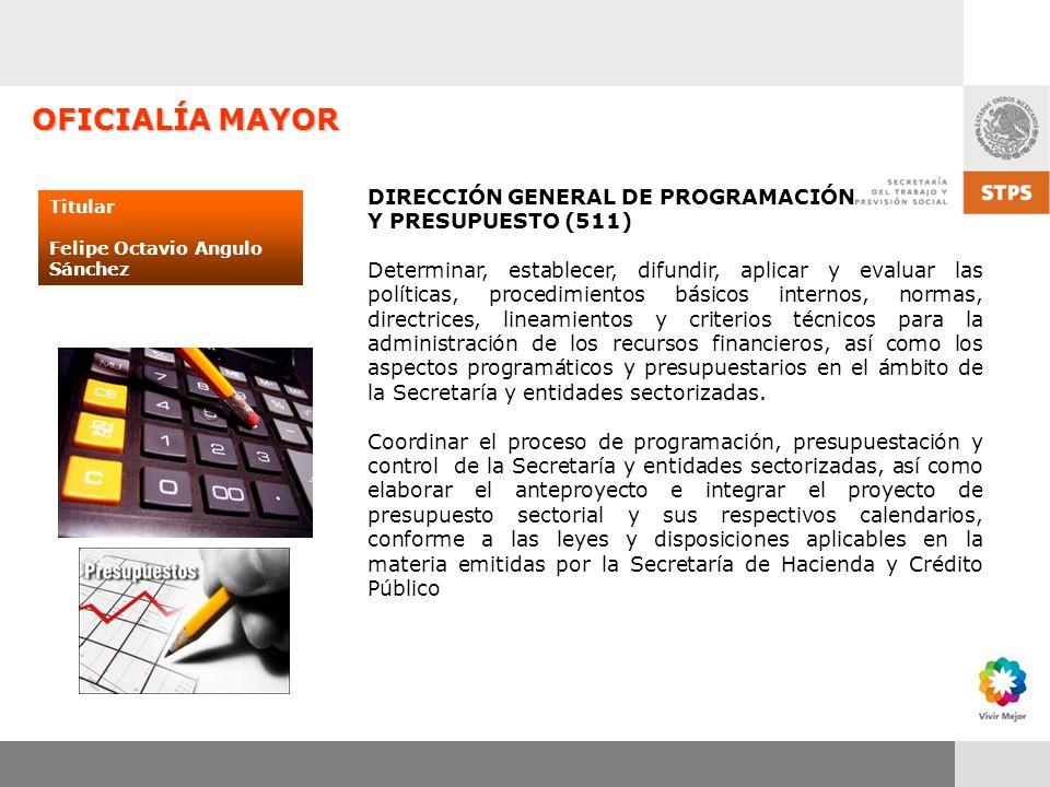 OFICIALÍA MAYOR DIRECCIÓN GENERAL DE PROGRAMACIÓN Y PRESUPUESTO (511)