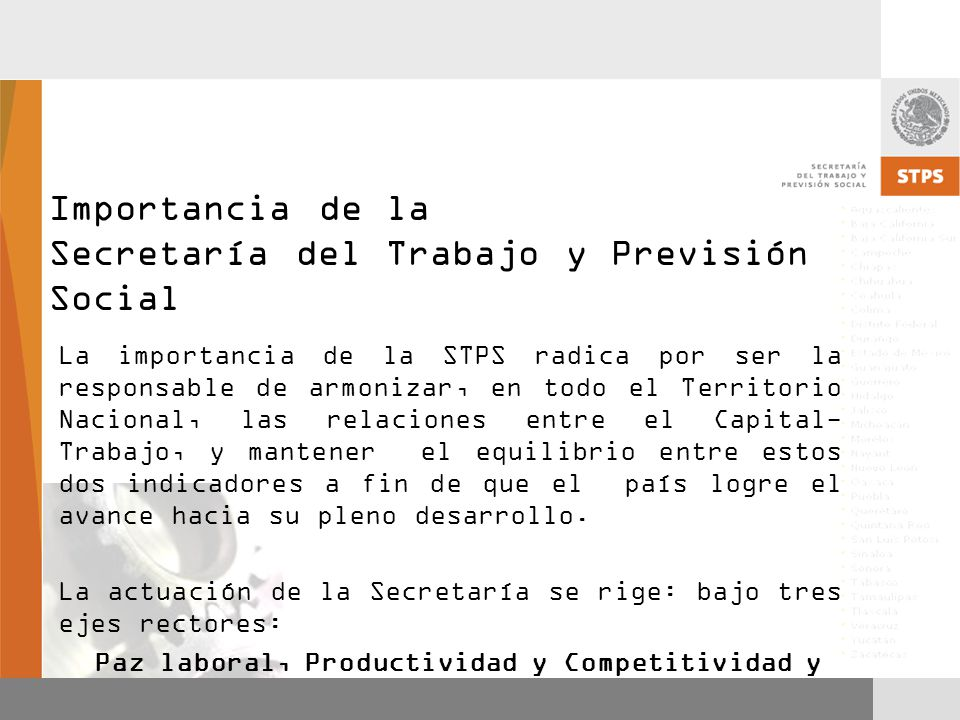 Importancia de la Secretaría del Trabajo y Previsión Social