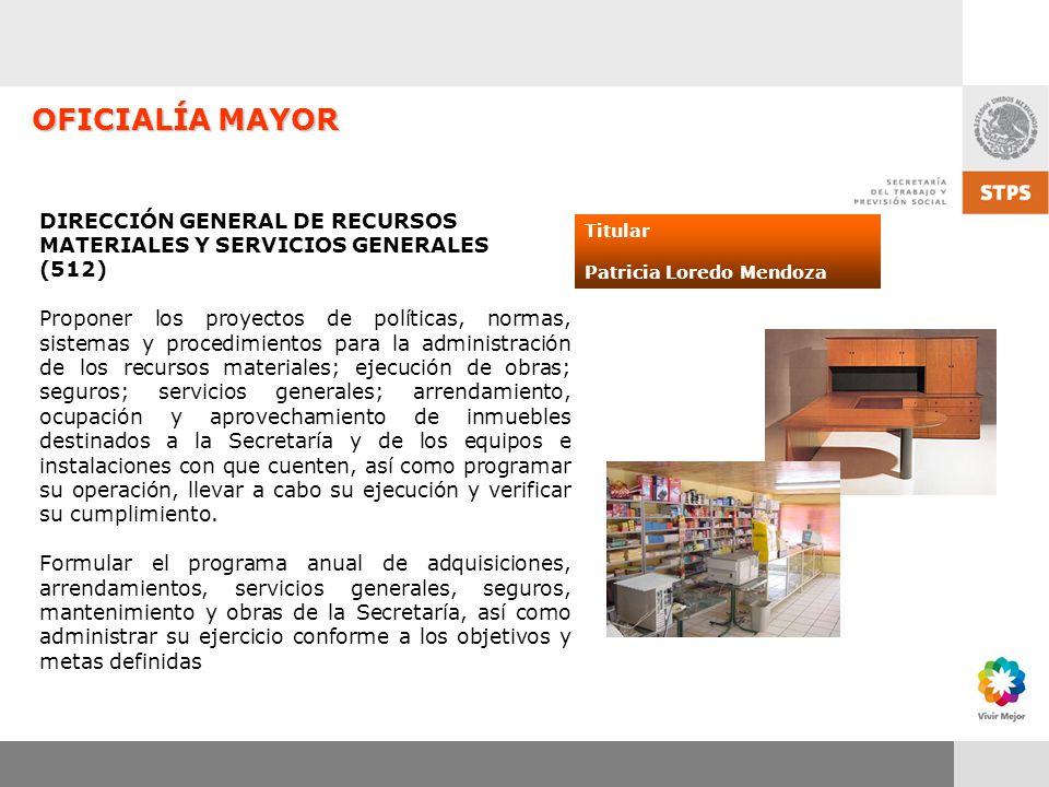 OFICIALÍA MAYOR DIRECCIÓN GENERAL DE RECURSOS MATERIALES Y SERVICIOS GENERALES. (512)