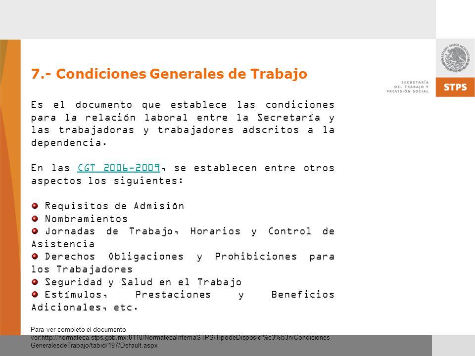 7.- Condiciones Generales de Trabajo