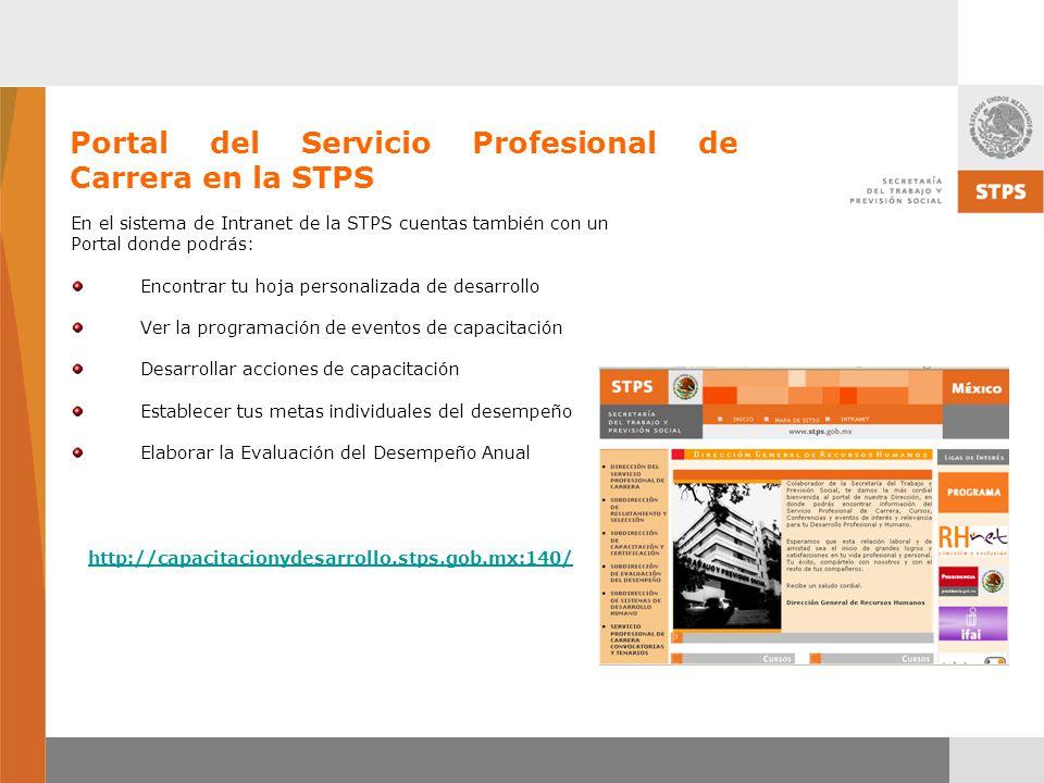 Portal del Servicio Profesional de Carrera en la STPS