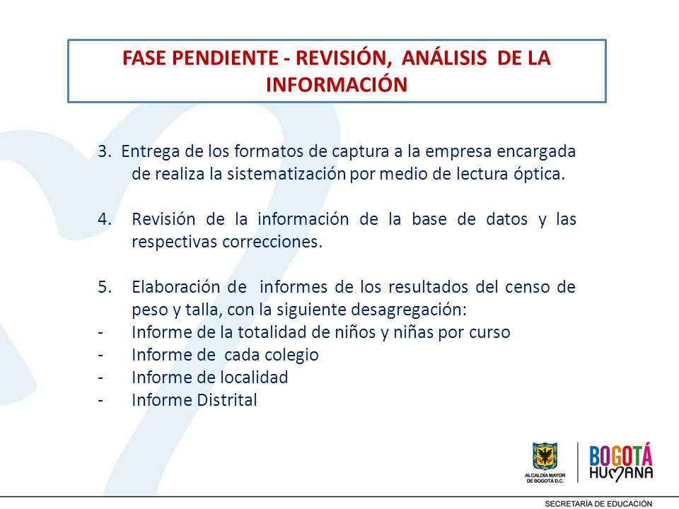 FASE PENDIENTE - REVISIÓN, ANÁLISIS DE LA INFORMACIÓN