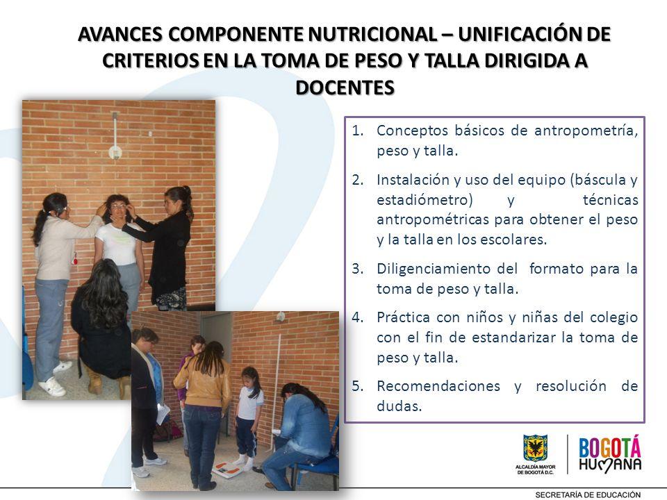 AVANCES COMPONENTE NUTRICIONAL – UNIFICACIÓN DE CRITERIOS EN LA TOMA DE PESO Y TALLA DIRIGIDA A DOCENTES