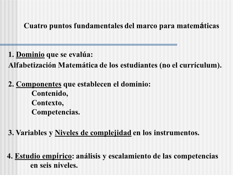 Cuatro puntos fundamentales del marco para matemáticas