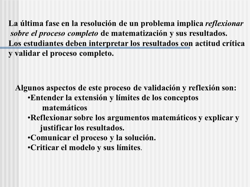 La última fase en la resolución de un problema implica reflexionar