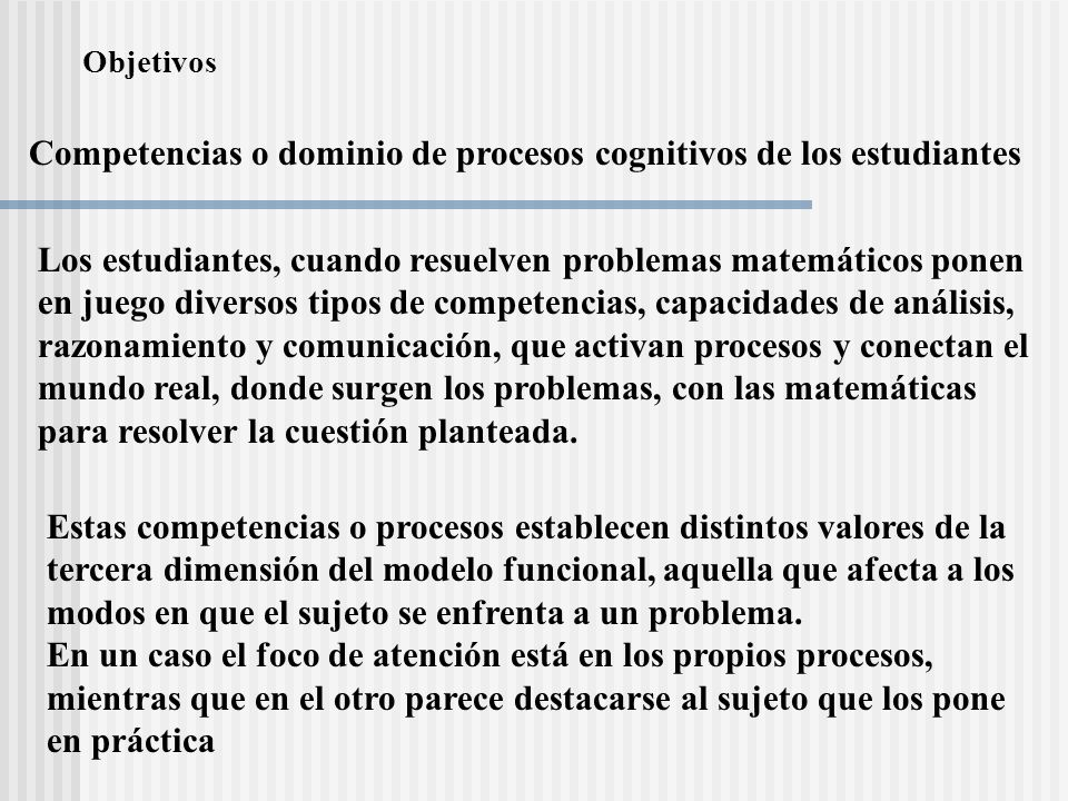 Competencias o dominio de procesos cognitivos de los estudiantes