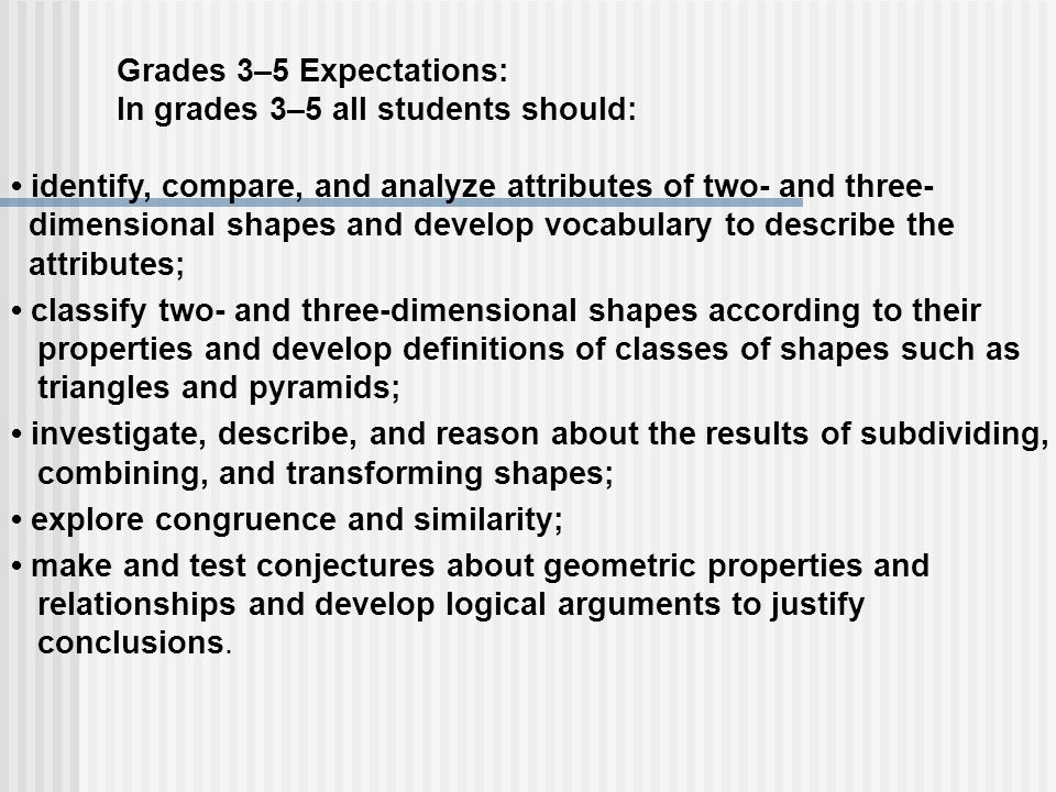 Grades 3–5 Expectations: