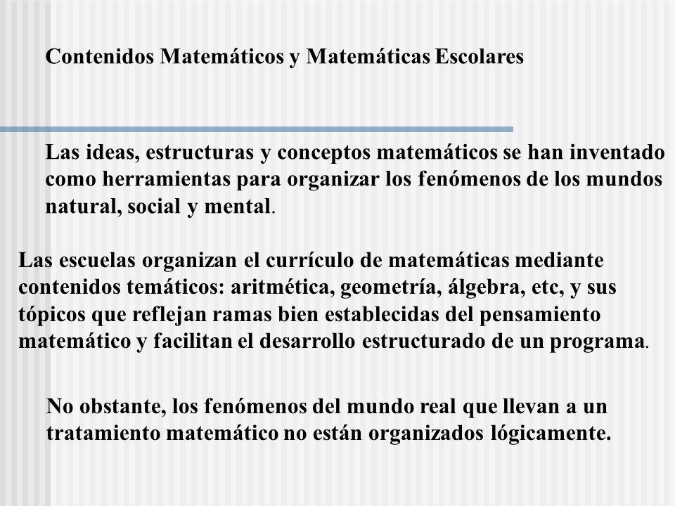 Contenidos Matemáticos y Matemáticas Escolares