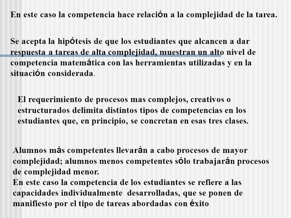En este caso la competencia hace relación a la complejidad de la tarea.