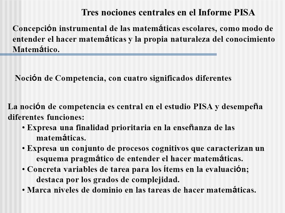 Tres nociones centrales en el Informe PISA
