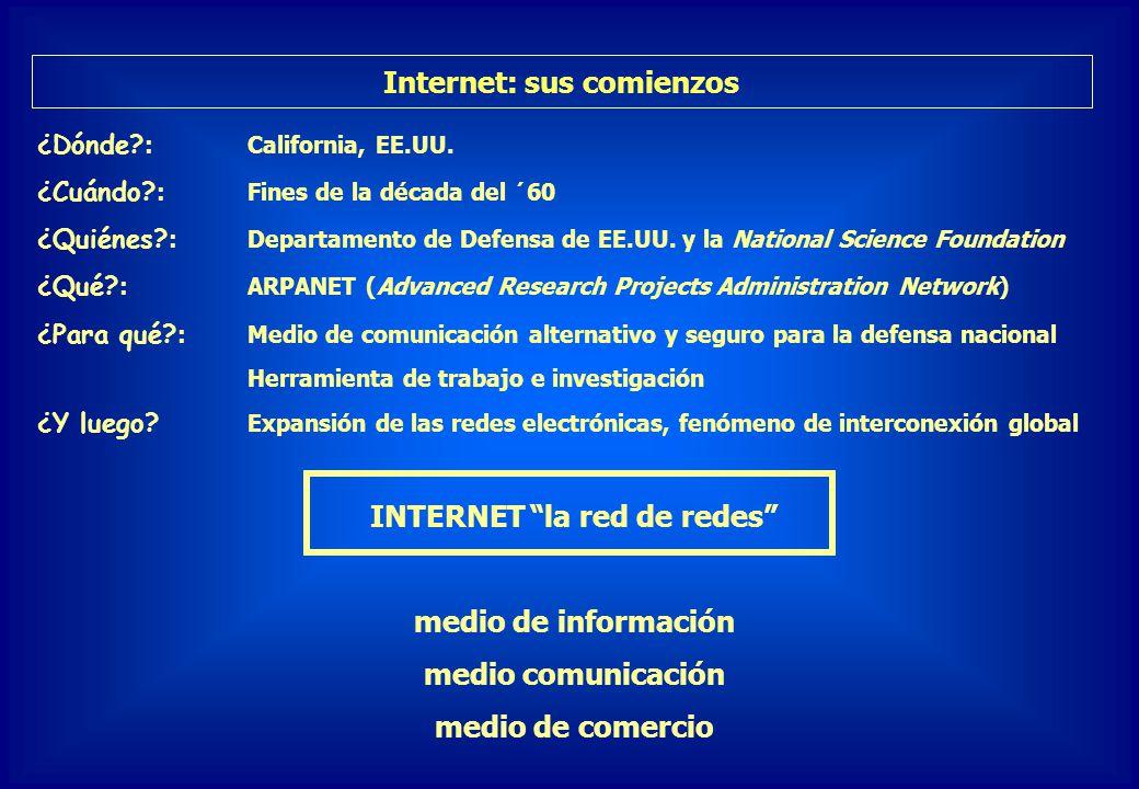Internet: sus comienzos INTERNET la red de redes