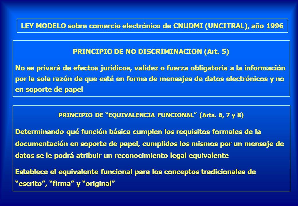 LEY MODELO sobre comercio electrónico de CNUDMI (UNCITRAL), año 1996