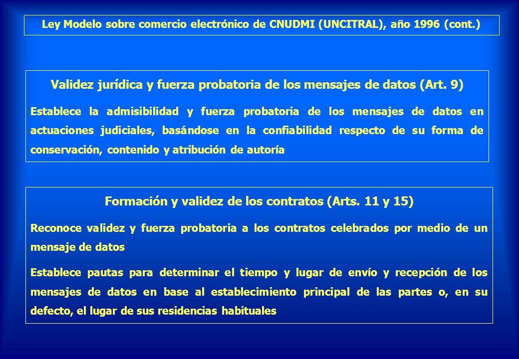 Validez jurídica y fuerza probatoria de los mensajes de datos (Art. 9)